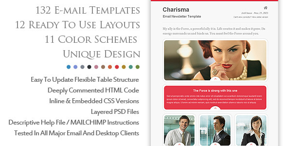 Code php themes charismatic emailer email newsletter for Cool mailchimp templates