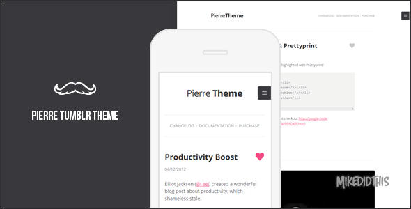ThemeForest Pierre A Super Clean Tumblr Theme 3635113