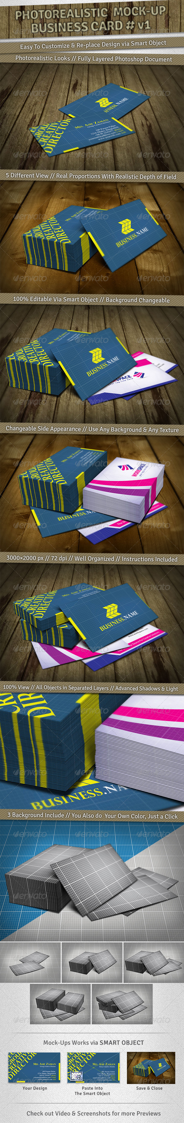 GraphicRiver 5 Mockup Photorealistic Business Card v1 3635138