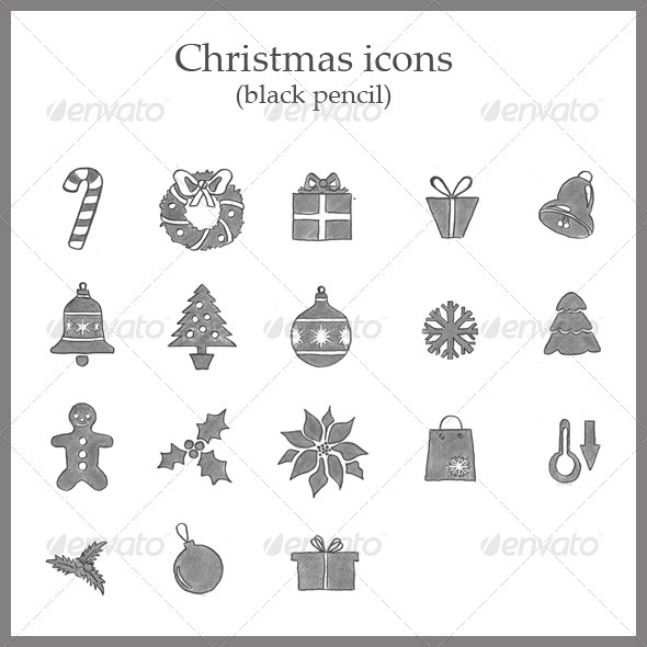 18 Christmas icons (black pencil) - Seasonal Icons