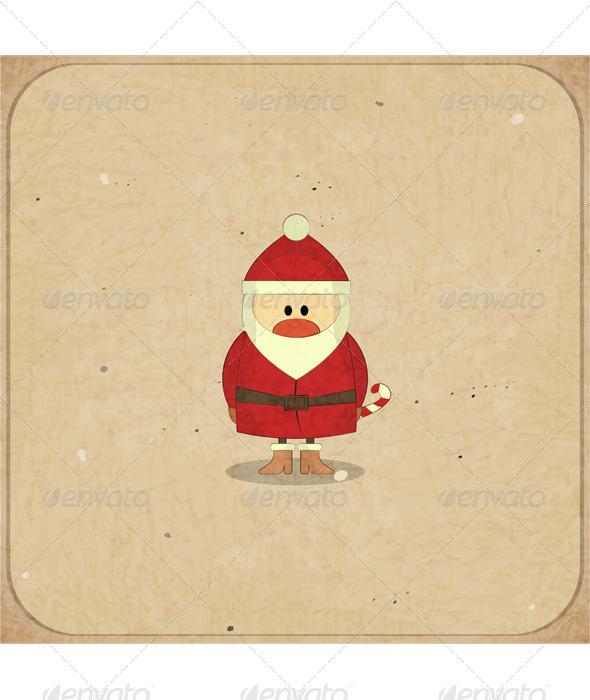 GraphicRiver Merry Christmas Retro card with Santa Claus 3635951