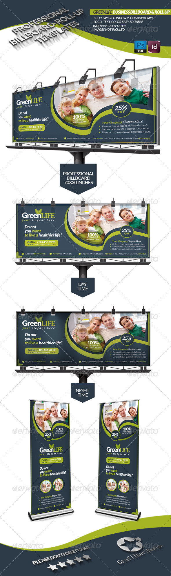 Green Life Business Billboard Roll-Up - Signage Print Templates