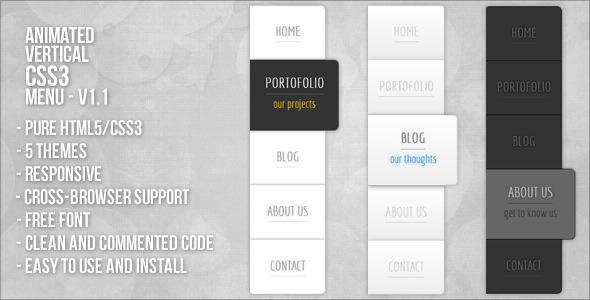 CodeCanyon Animated Vertical CSS3 Menu 3266015
