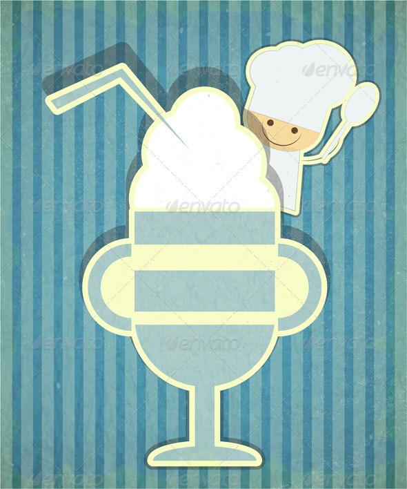 Design of Dessert Menu with Chef and Ice Cream