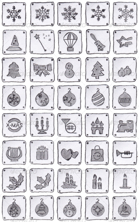 40 Christmas Icons (black pencil)