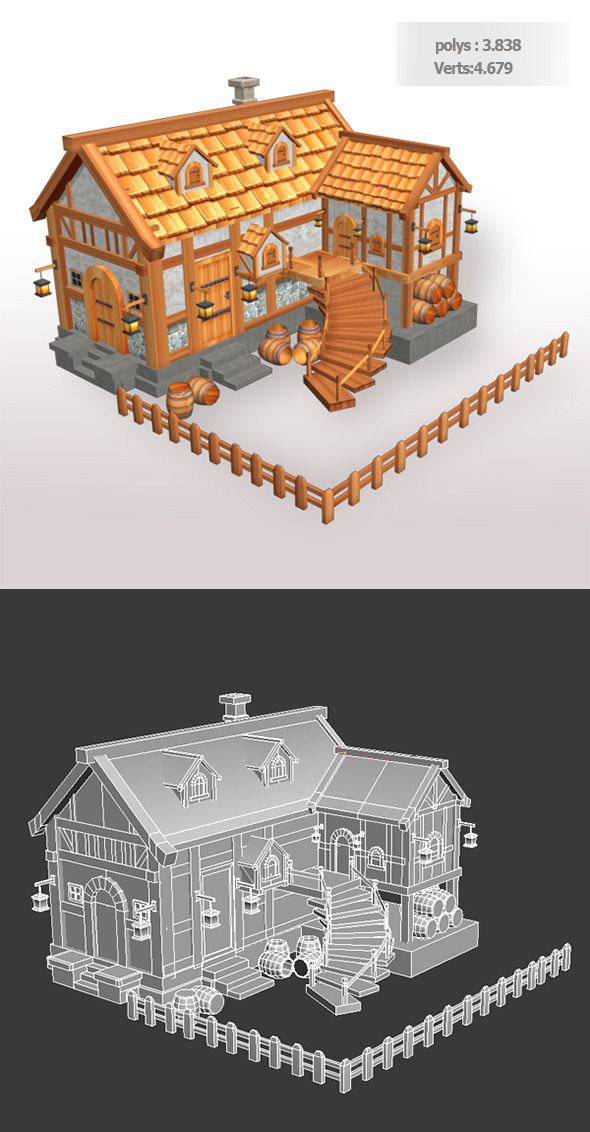 Tavern Low Poly - 3DOcean Item for Sale