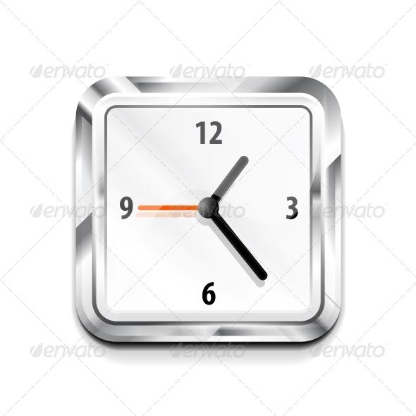 GraphicRiver Metal Square Clock Icon Vector Illustration 3638538