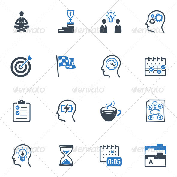 GraphicRiver Productive at Work Icons Blue Series 3639558