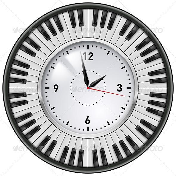 GraphicRiver Realistic Office Clock Piano keys 3640001