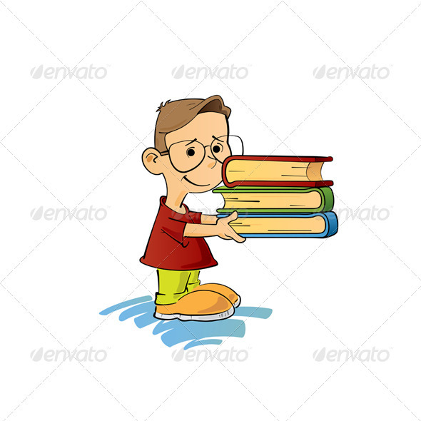 GraphicRiver Kid With Books 3640735