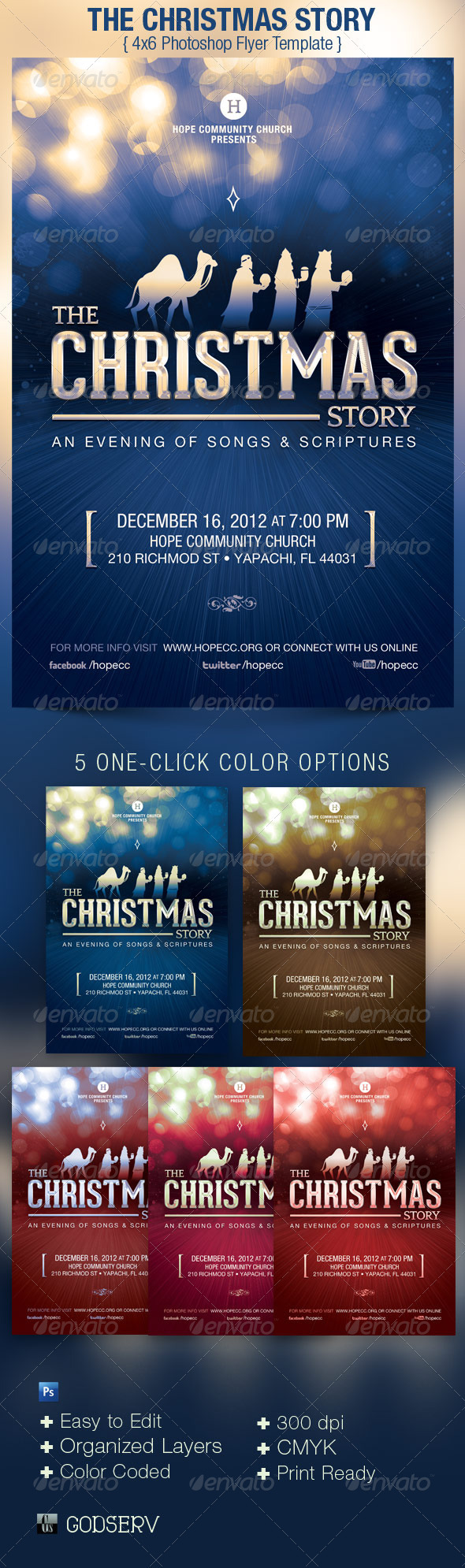 Christmas Story Church Flyer Template - Church Flyers