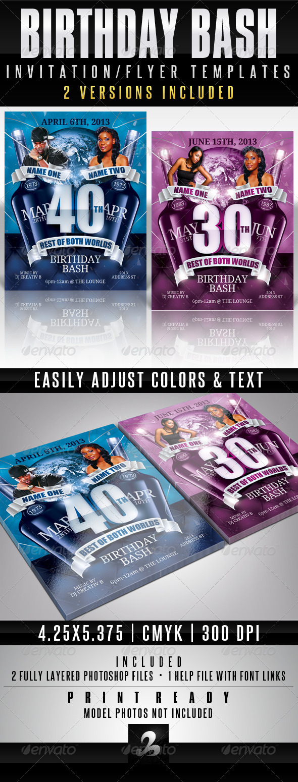 GraphicRiver Birthday Invitation Template Best Of Both Worlds 3641191