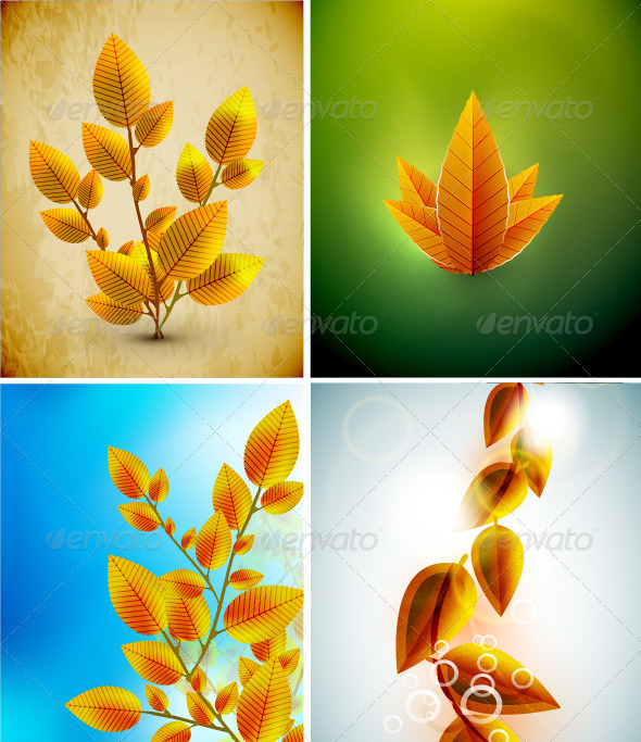 GraphicRiver Vector Autumn Leaves Backgrounds 3641288