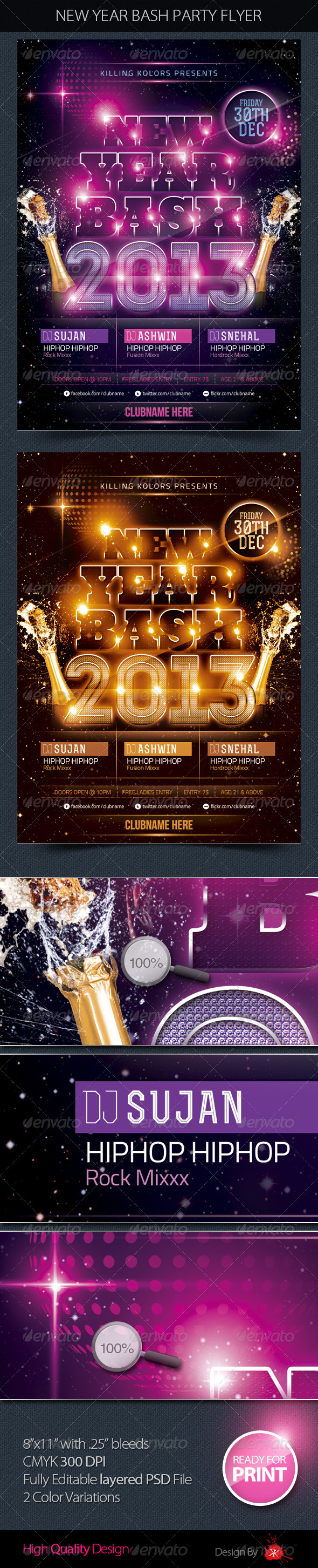 GraphicRiver New Year Bash Party Flyer 3641416
