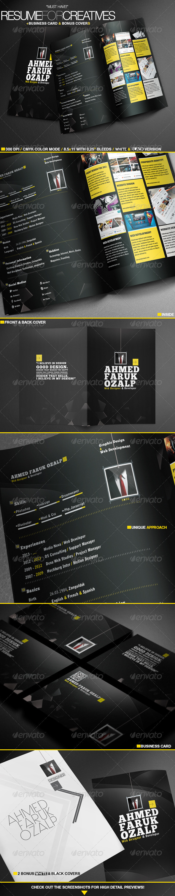 GraphicRiver Resume For Creatives & Bonus Templates 3641429