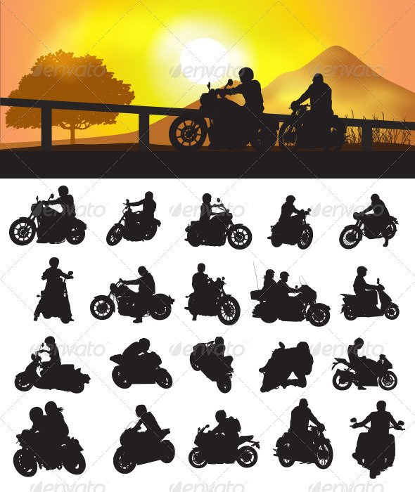 GraphicRiver Motorcycle Rider Silhouette 3641448
