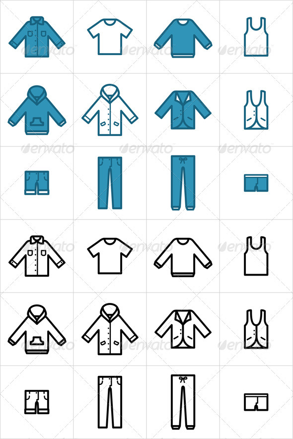 Clothing Icons Set 1 - Man-made objects Objects