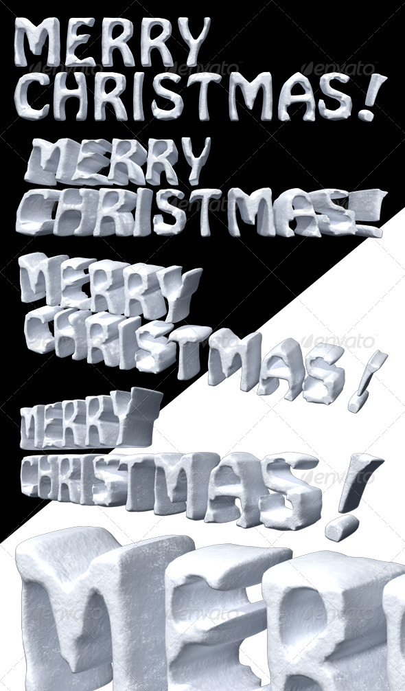 GraphicRiver 3D Render of Merry Christmas in Snow Texture 3642561