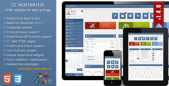 ThemeForest Aquarius responsive admin panel 3355814