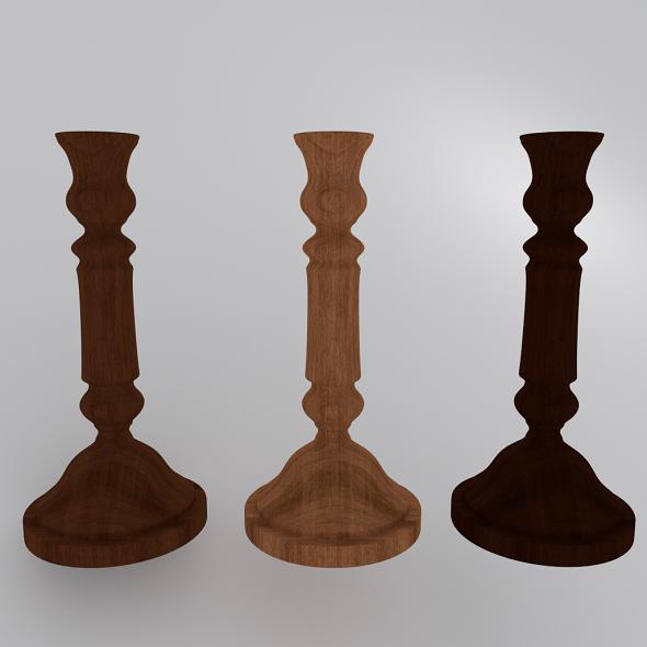 3DOcean Wooden Candlestick 2 3642717