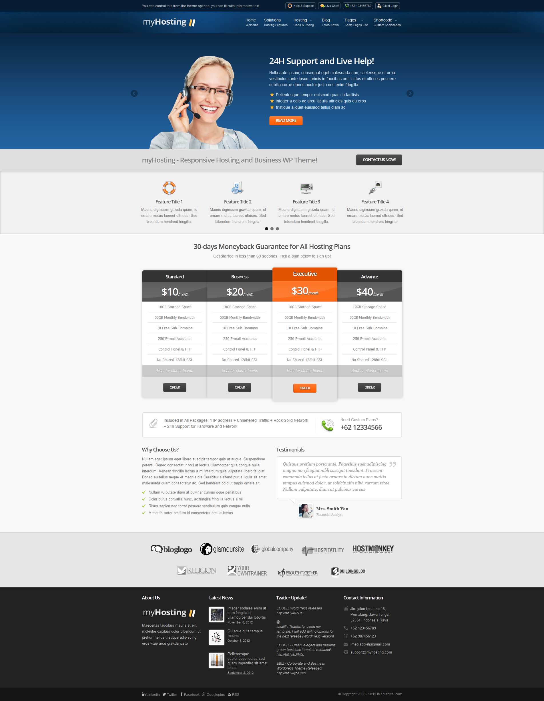myHosting - Responsive Hosting & Business Theme
