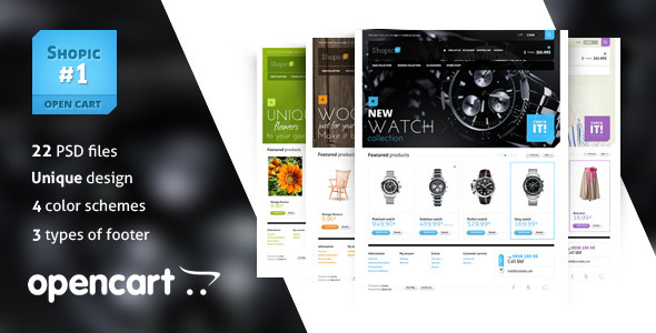 ThemeForest Shopic#1 OpenCart PSD Template PSD Templates Retail Shopping 3637980