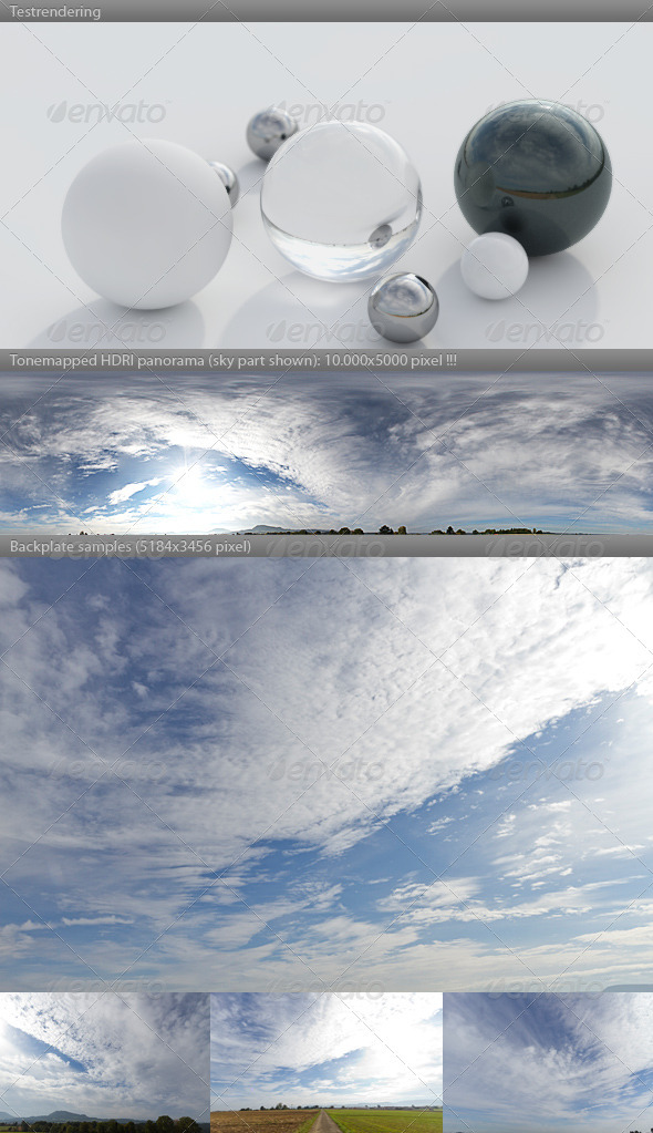 3DOcean HDRI spherical sky panorama 1045- blue sun cloudy 3643448