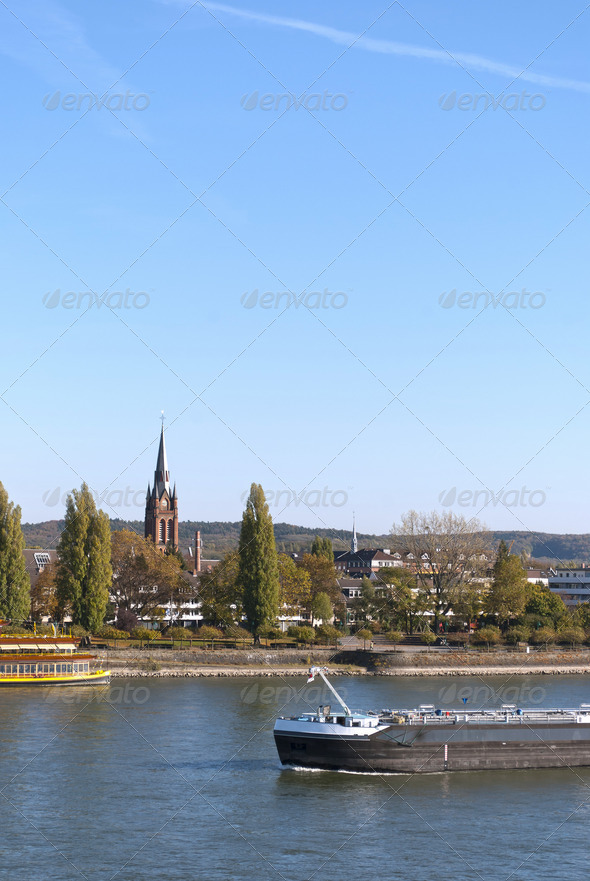 River Rhein in Bonn - Stock Photo - Images