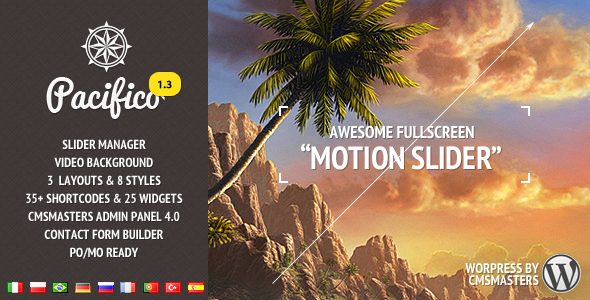 ThemeForest Pacifico Fullscreen wp theme with motion effect 1486311