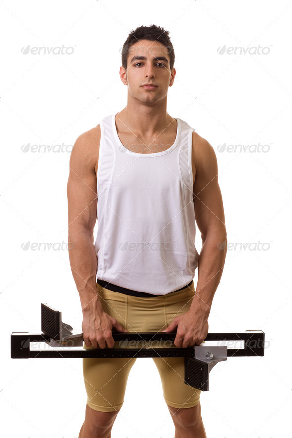 Track and field athlete with starting block. Studio shot over white. - Stock Photo - Images