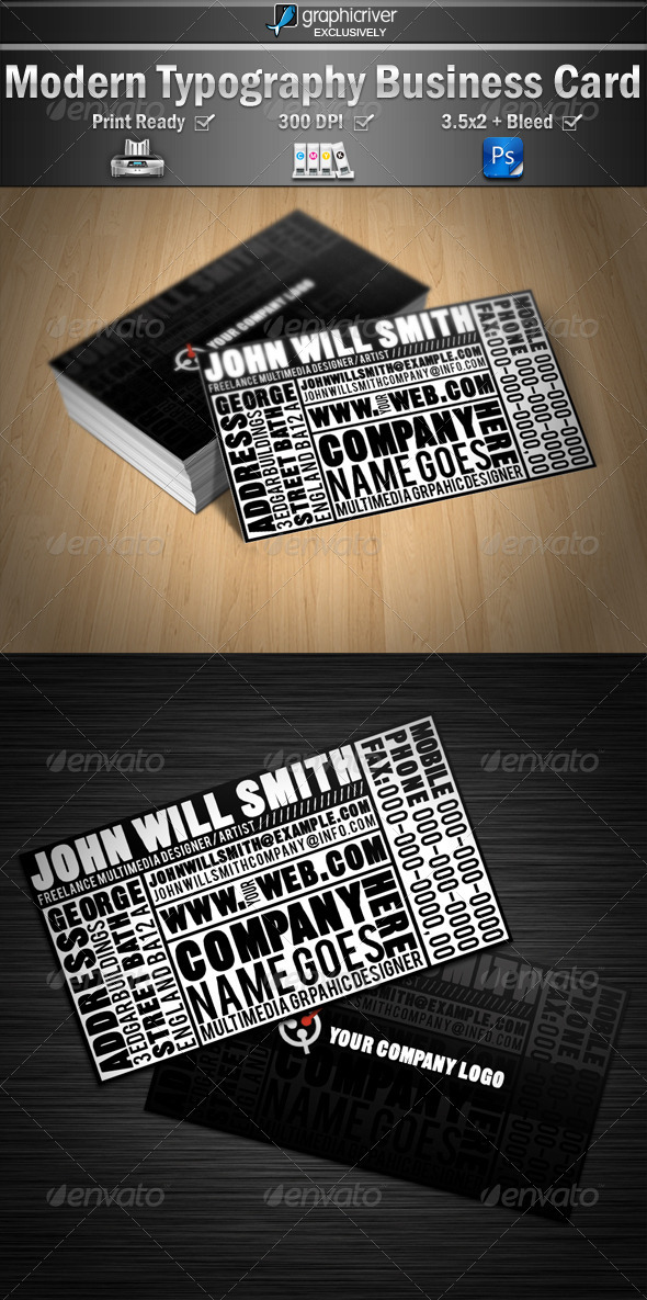 Modern Typography Business Cards - Creative Business Cards