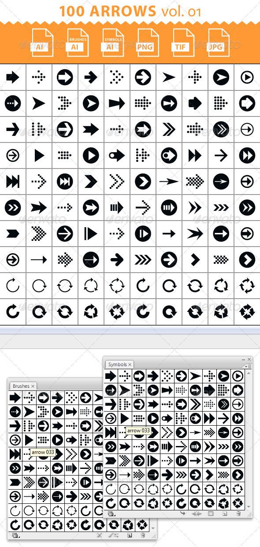 100 Arrow Set. Volume 01. Brush Library - Techno / Futuristic Brushes