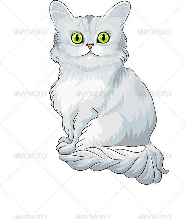 GraphicRiver Vector Cute Blue Tiffany Cat Sitting 3646504