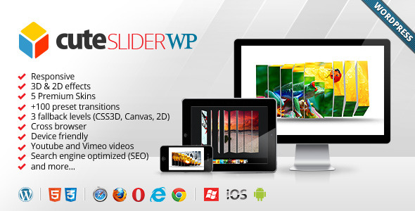 CodeCanyon Cute Slider WP 3D & 2D HTML5 WordPress Slider 3646555