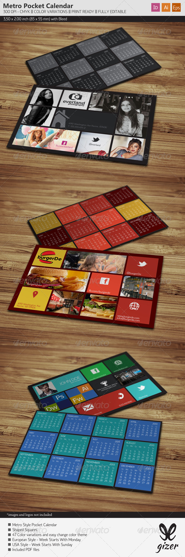 GraphicRiver Pocket Calendar 2013 Metro Style 3646563