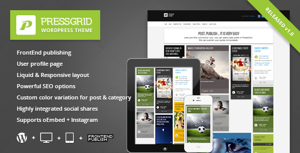 ThemeForest PressGrid Frontend publishing & Multimedia Theme WordPress Blog / Magazine News / Editorial 3602009