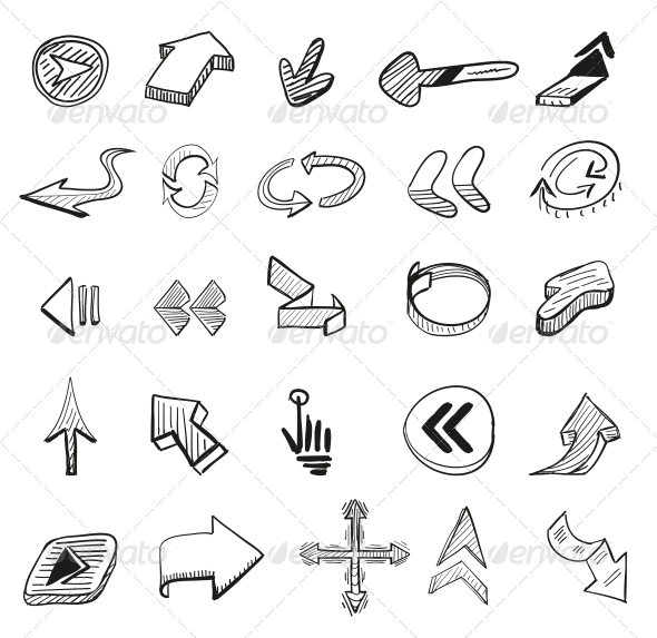 GraphicRiver Vector Set 25 Hand-drawn Arrows 3648131