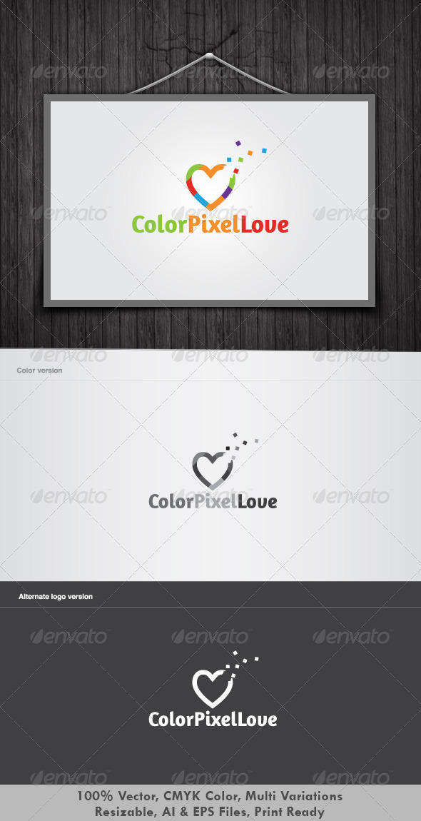 Color Pixel Love  - Symbols Logo Templates