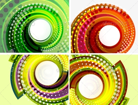 GraphicRiver Colorful Abstract Swirl Background Set 3648983