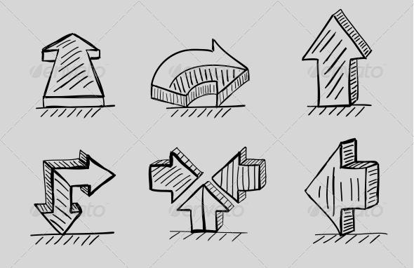 GraphicRiver Hand-drawn 3D Arrows Vector Icon Set 3649059