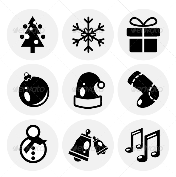 GraphicRiver Vector Black Christmas Icons Icon Set 3649060