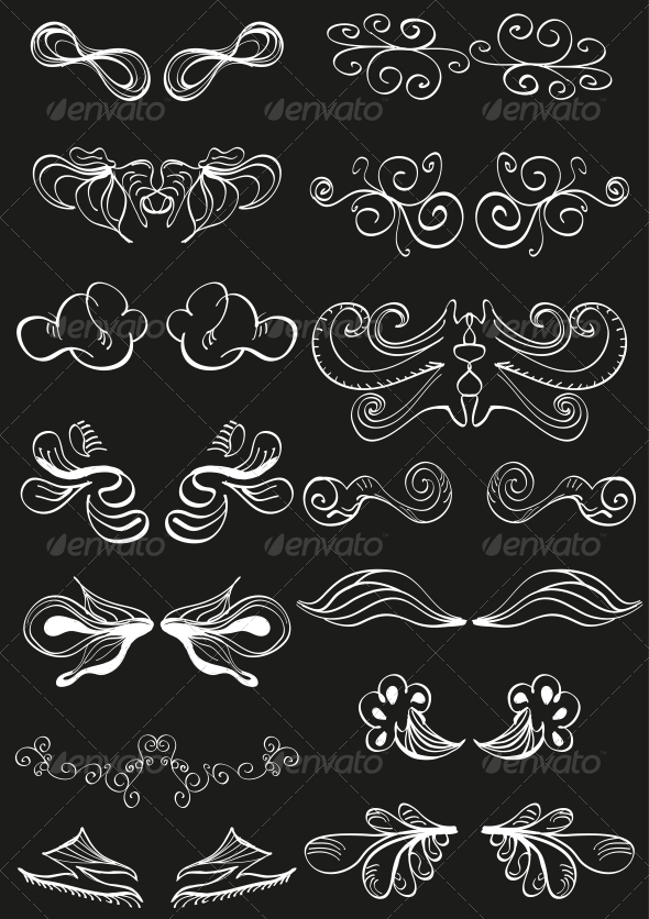 GraphicRiver White Hand-drawn Banner Decorations on Black 3649063