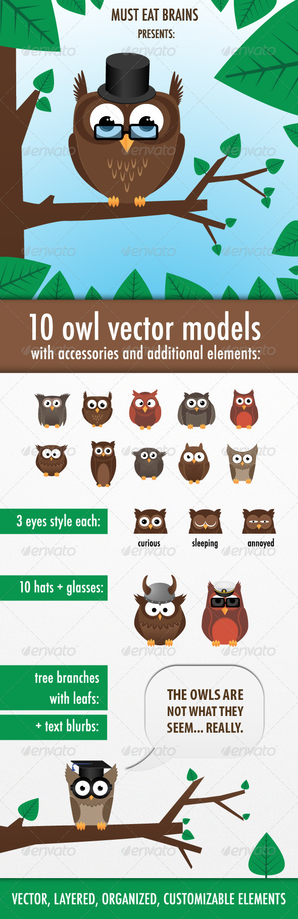 GraphicRiver 10 Owls Creation Kit 3649180