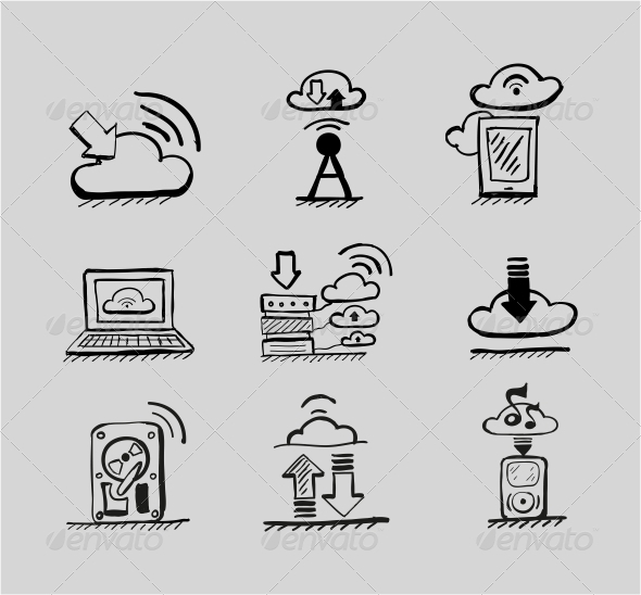 GraphicRiver Hand-drawn Cloud Concepts Vector Icon Set 3649182
