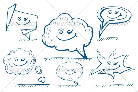 GraphicRiver Hand-drawn Vector Design Elements Speech Bubbles 3649303