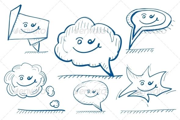 Hand-drawn Vector Design Elements Speech Bubbles