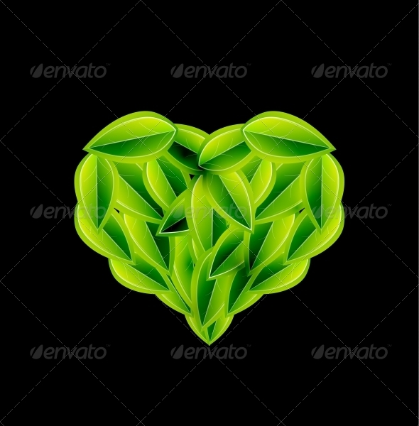 GraphicRiver Eco Love Heart Made of Leaves Vector 3649548