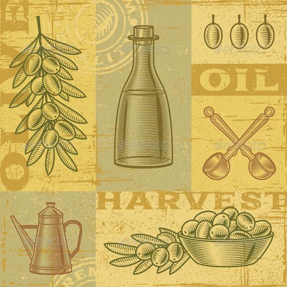 GraphicRiver Vintage Olive Harvest Background 3650361