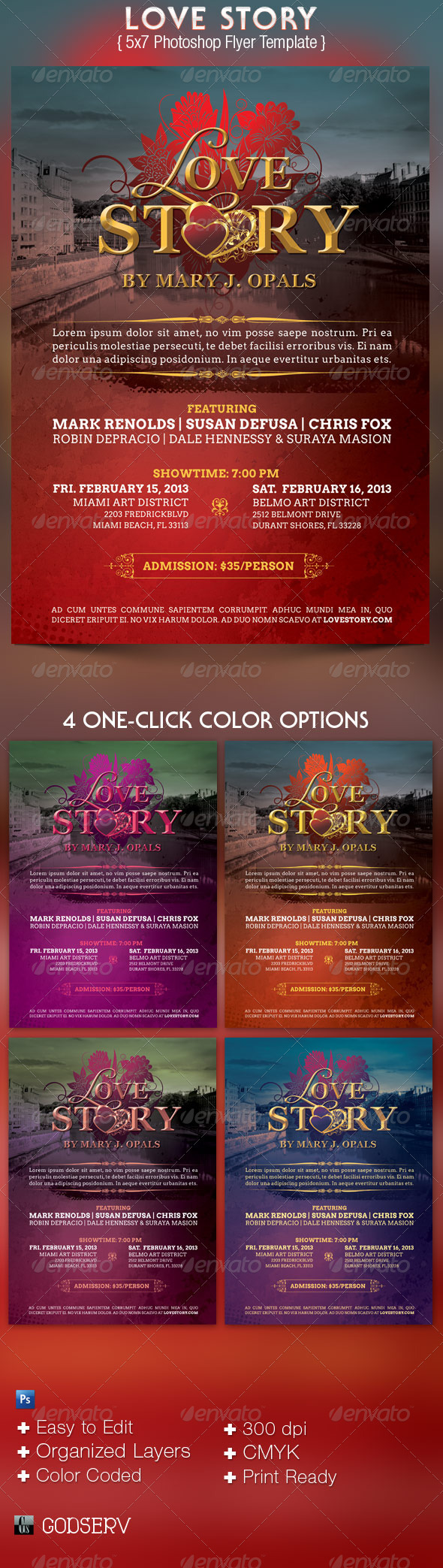 Love Story Flyer Template - Holidays Events