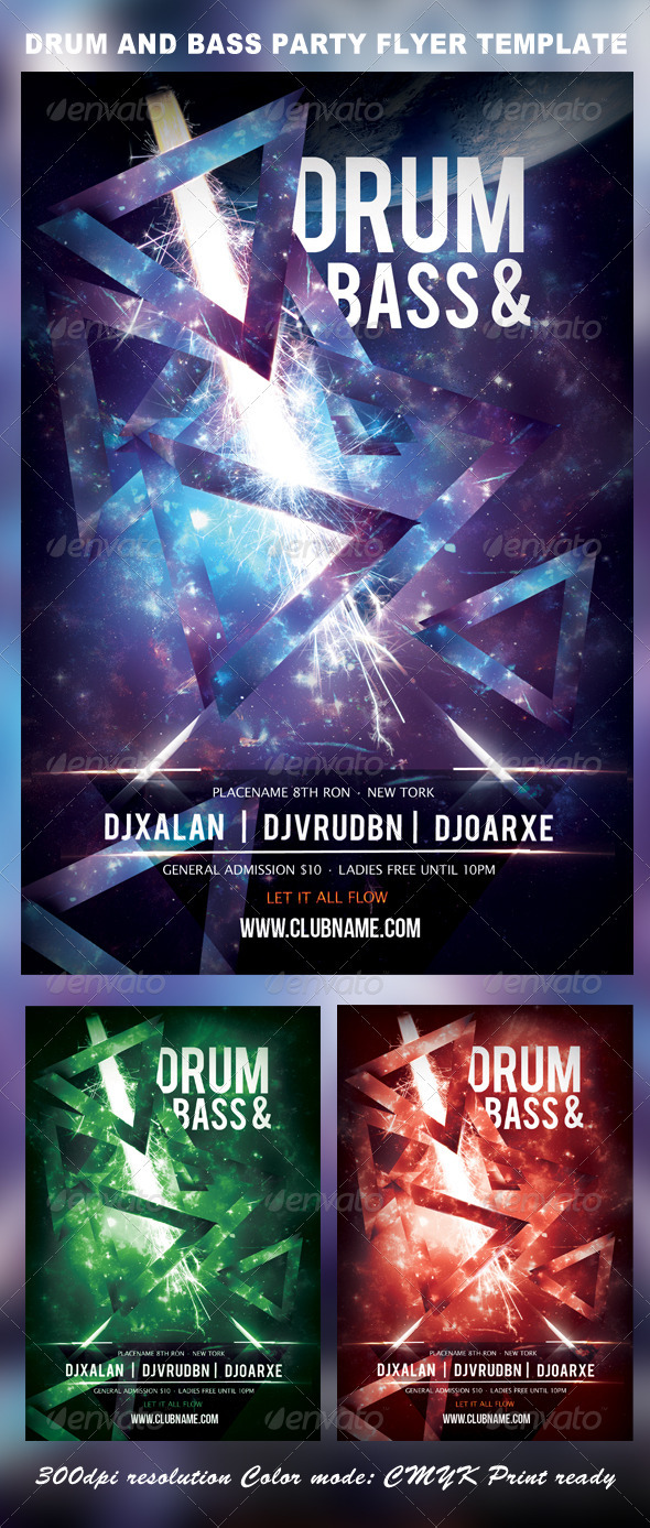 GraphicRiver Drum and Bass Party Flyer Template 3651092